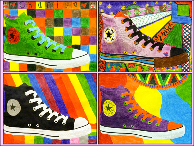 ce7a61dd24f2 KMS Art students worked on this art activity alongside the Pop Art linoleum  block printing assignment. After exploring the artistic themes and subjects  of ...