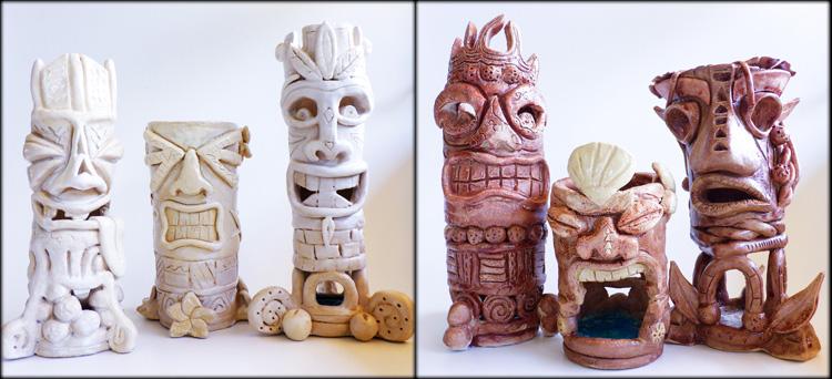 Ceramic Tiki Sculptures Julia Sanderl
